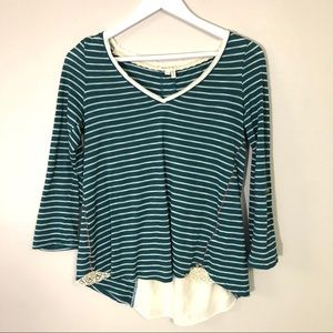 Meadow rue green/teal striped back lace top